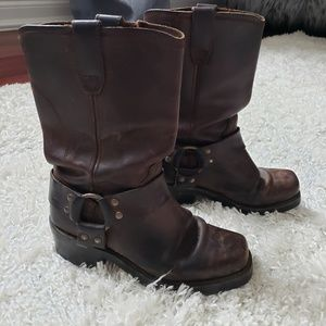 Dingo brown moto boots with strap detail